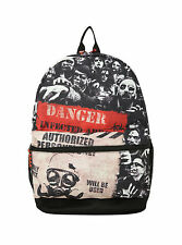 "DANGER INFECTED AREA ZOMBIE BLACK 17"" BOY'S & GIRL'S SCHOOL BACKPACK NWT!"