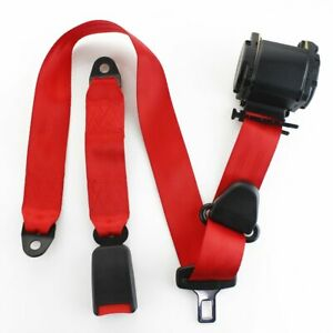 1X Fits Triumph 3 Point Harness Safety Seatbelt Retractable Red Car Buckle Belt