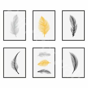 Set Of Feather Prints Yellow Mustard Home Decor Love Home Wall Posters A3 A4 A5