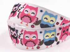 Diy5 Yard 1'' Owl Printed Grosgrain Ribbon Hair Bow Sewing Ribbon