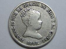 1847 MADRID 1 REAL SPAIN ISABEL II PLATA SPANISH PLATA SILVER