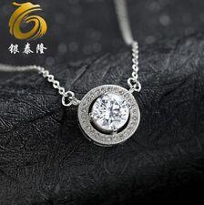 "Silver Infinity Cubic Zirconi Circle Love Pendant Necklac 18"" Chain Gift Box E15"