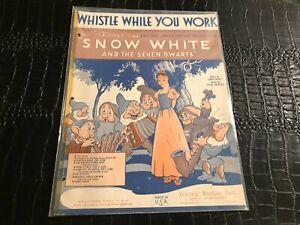 1937 DISNEY - SNOW WHITE sheet music WHISTLE WHILE YOU WORK