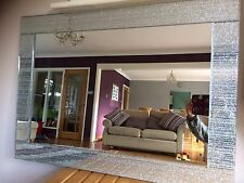 C Large Silver Glitter mirror Frame living room lounge bedroom wall Big 90x65cm