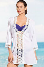 White Long Sleeve Beach Wear Cover- up  Holiday Top Dress One Size (UK8-12)