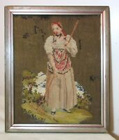 antique Victorian hand embroidered figural needlepoint art maid lady embroidery
