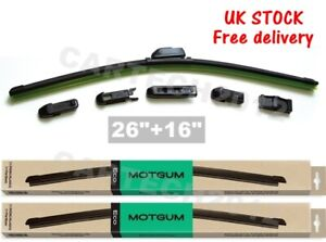 "Front Pair Aero Flat Wiper Blades For Seat Leon MK3, Toledo MK4, BMW X1  26"" 16"""