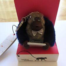 Kipling Nerdy Monkey Key Ring Computer Geek- laptop glasses bow tie blue brown