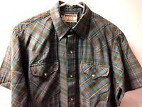 Vintage Mens Ruddock Blue Pearl Snap Plaid Western Shirt Large L Rockabilly