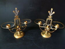 Pair Candlesticks Bronze Golden Silver Crystal Art Nouveau Insect Wheat