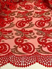 """RED GOLD EMBROIDERY RHINESTONE MESH BRIDAL LACE FABRIC 52"""" WIDE 1 YD"""