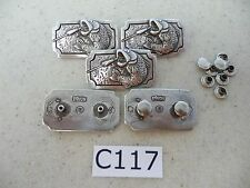 #C117 Enmon Lot of 5 Large Mouth Bass Fish Fishing Conchos 40x23mm Square