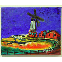 """Windmill at Dangast Painting Hand Painted Expressionism signed """"Robert"""" COA"""