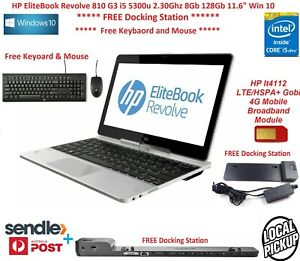 "HP EliteBook Revolve 810 G3 i5 5300u 2.30Ghz 8Gb 128Gb 11.6"" Win 10 + DOCK"