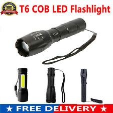 T6 COB LED Flashlight USB Rechargeable Waterproof Telescopic Zoomable Torch Lamp