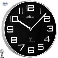 Atlanta 48 Radio Reloj De Pared Plateado Negro Redonda oficina cocina 416
