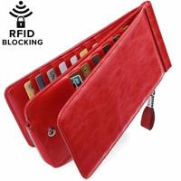Huztencor Women's Credit Card Holder RFID Blocking Oil Wax Leather Multi Wallet
