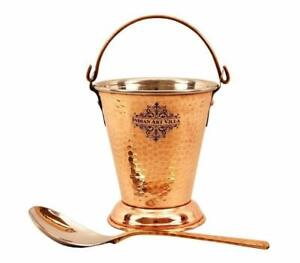 Steel Copper Bucket with 1 Serving Spoon for Serving Dishes Tableware 300 ml