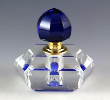 NEW BLUE CLEAR FACETED GLASS CRYSTAL SCREW IN  STOPPER GOLD TONE PERFUME BOTTLE