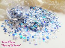 Nail Art Chunky *Star of Wonder* Blue Silver Hex Snowflake Glitter Spangle Pot