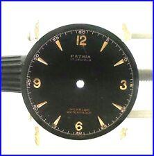 Rare Vintage Patria 17Jewels Incabloc Waterproof 29.2mm Black Watch Dial Part