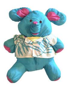 VTG 1987 Fisher Price PUFFALUMP BLUE ELEPHANT Stuffed Plush HAWAIIAN SHIRT