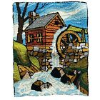 """Antique Hand Hooked Rug Wall Hanging Folk Art Primitive Watermill 25"""" x 20"""""""
