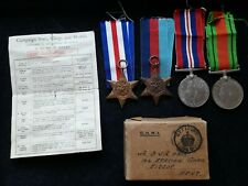 WWII GROUP OF 4 MEDALS IN BOX OF ISSUE WITH ENTITLEMENT SLIP - HALL OF SIDCUP