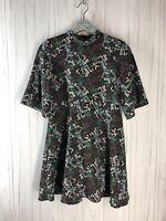 Zara Women's Size Small Black Floral Mock Neck A Line Mini Dress Short Sleeve