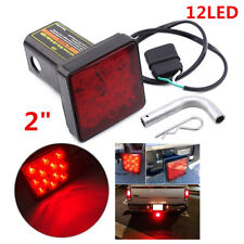 "12-LED Red Lens Brake Light Trailer Hitch Cover Fit Towing 2"" Receiver w/ 4Pin"