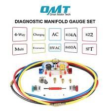 4 Way Achvac Diagnostic Manifold Gauge 4 Hose Set R410 R22 R134a Pro