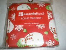 "New Essential Home Round Tablecloth 60"" Snowmen"