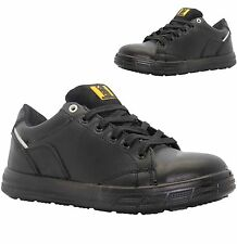 MENS BLACK LEATHER LIGHT WEIGHT STEEL TOE CAP SAFETY ANKLE WORK SHOES TRAINERS
