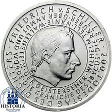 Deutschland 10 Euro Silber 2005 bfr Friedrich von Schiller Münze in Münzkapsel