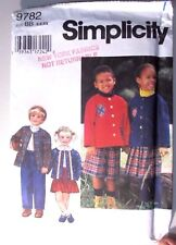 Simplicity sewing pattern no.9782 TODDLERS WARDROBE size 5,6,6X MONTHS