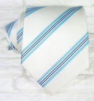 Cravatta seta Regimental bianco blue Made in Italy business / matrimoni sposo