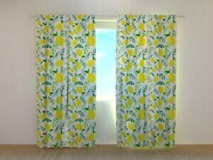 Photo Curtain Printed Lemonella Watercolor Lemons image Wellmira Made to Measure