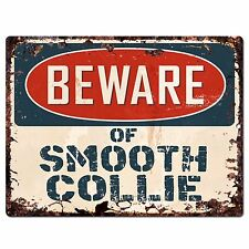 Ppdg0040 Beware of Smooth Collie Plate Rustic Chic Sign Decor Gift