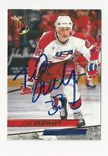 93/94 Ultra Autographed Hockey Card Ted Crowley Team USA