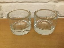 Pair of Contemporary Heavy Glass Tea Light Holders