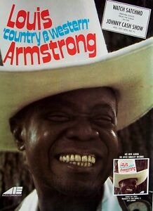 LOUIS ARMSTRONG 1970 Poster Ad COUNTRY & WESTERN
