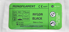 3/0 NYLON BLACK MONOFILAMENT SUTURE 75CM TRAINING USE 18mm NEEDLE NURSE VET NEW
