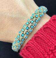 925 Sterling Silver Handmade Antique Turkish Turquoise Bracelet Bangle Cuff