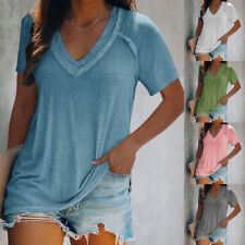 Women Summer V Neck Short Sleeve T Shirt Loose Fit Solid Blouse Casual Tunic Top