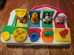 Vintage 1993 Fisher Price Red Barn Farm Animals Poppin Pals Pop-up Toy