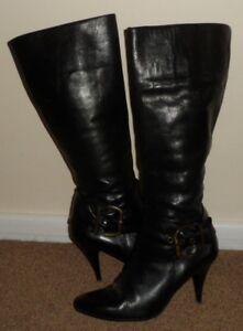 NEXT GORGEOUS BLACK LEATHER STILETTO HIGH HEEL KNEE BOOTS UK 4 / 37 SLIM LEG