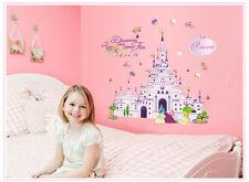 Wandtattoo wandaufklebe kinder Prinzessin schmetterling blume Schloss d005