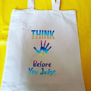AUTISM TOTE SHOPPING BAGS, CANVAS BAG Think Before You Judge