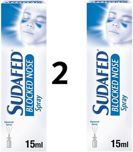 FREE SHIPPING- 2 x Sudafed Blocked Nose Spray 15ml (10 hours) Nasal Congestion