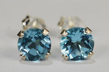 BEENJEWELED GENUINE NATURAL MINED BLUE TOPAZ EARRINGS~STERLING SILVER~6MM